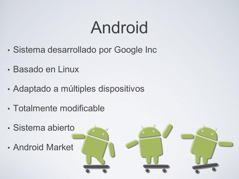 Android Sistema desarrollado por Google Inc Basado en Linux