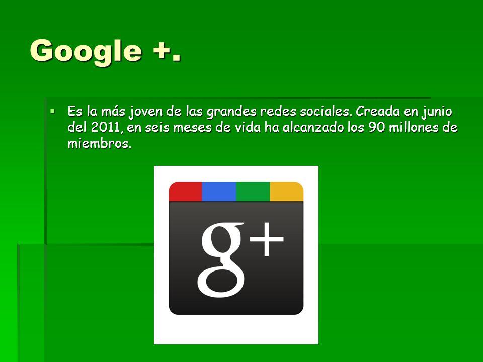 Google +. Es la más joven de las grandes redes sociales.