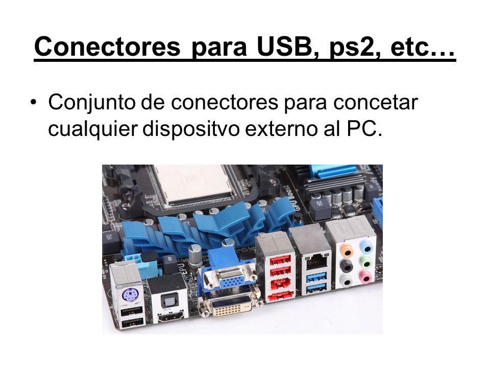 Conectores para USB, ps2, etc…