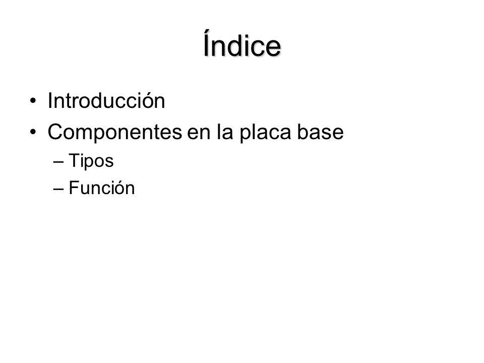 Índice Introducción Componentes en la placa base Tipos Función