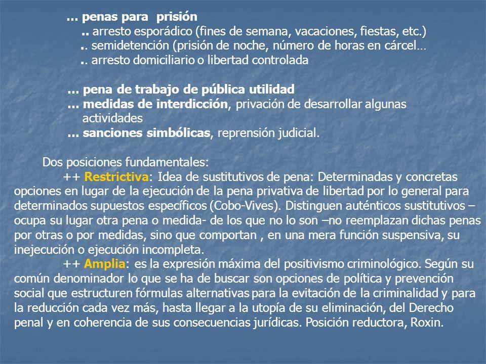 … penas para prisión .. arresto esporádico (fines de semana, vacaciones, fiestas, etc.)