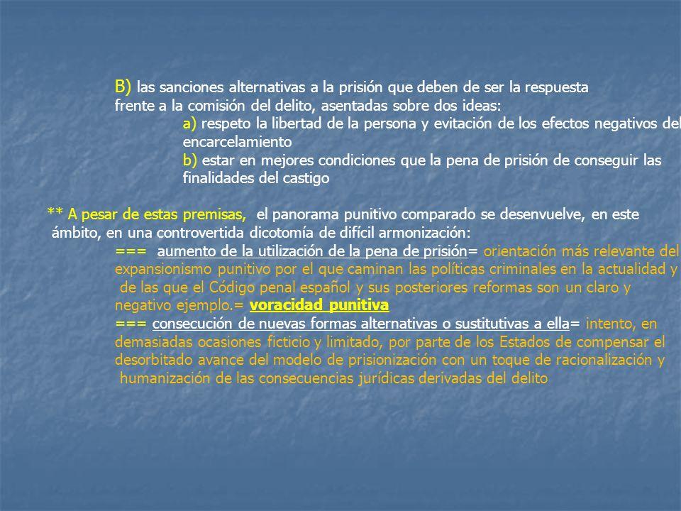 B) las sanciones alternativas a la prisión que deben de ser la respuesta