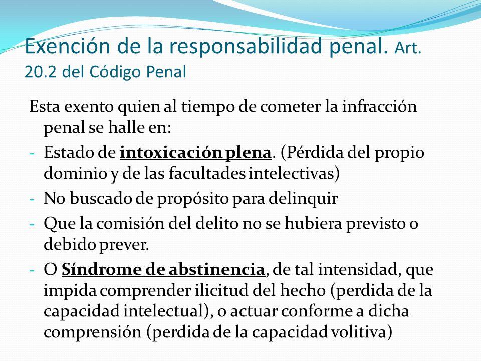 Exención de la responsabilidad penal. Art. 20.2 del Código Penal