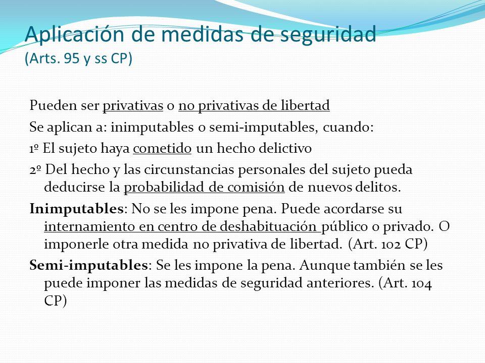 Aplicación de medidas de seguridad (Arts. 95 y ss CP)