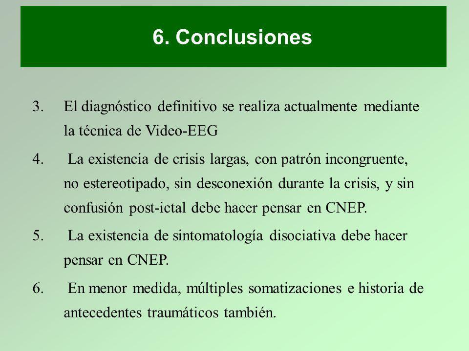 6. Conclusiones El diagnóstico definitivo se realiza actualmente mediante la técnica de Video-EEG.