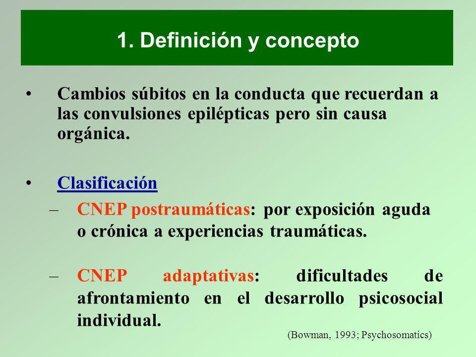 1. Definición y concepto Cambios súbitos en la conducta que recuerdan a las convulsiones epilépticas pero sin causa orgánica.