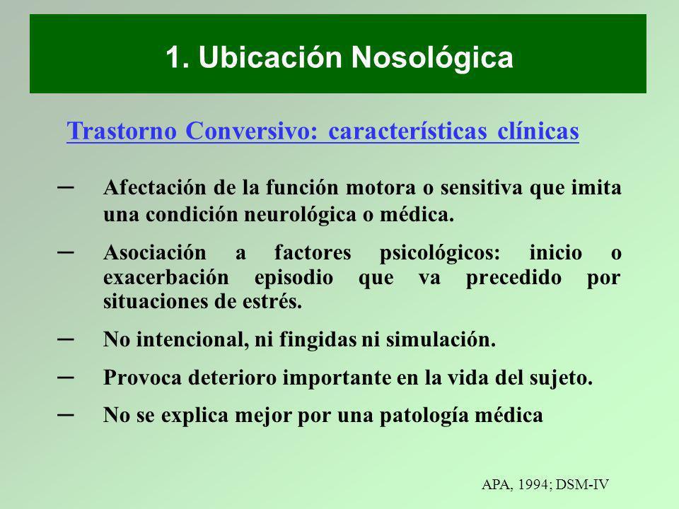 1. Ubicación Nosológica Trastorno Conversivo: características clínicas