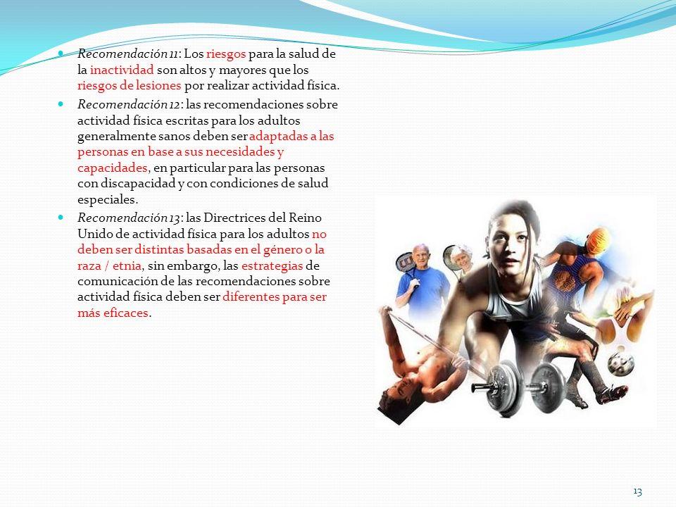 Recomendación 11: Los riesgos para la salud de la inactividad son altos y mayores que los riesgos de lesiones por realizar actividad física.
