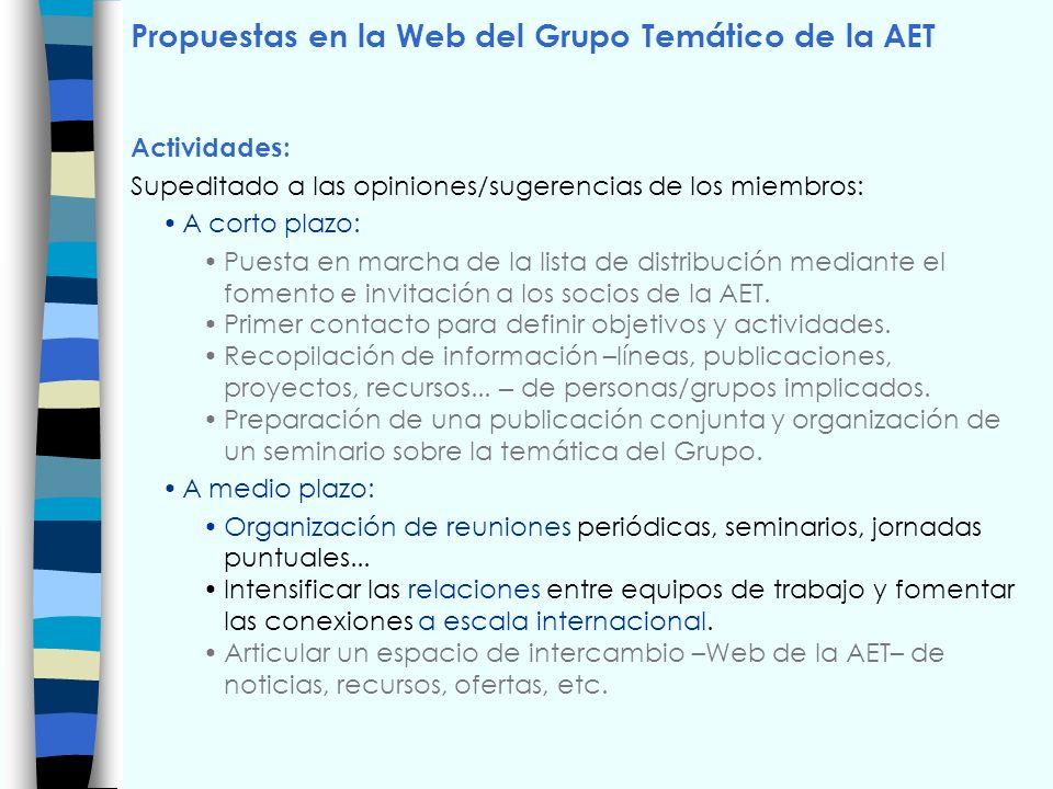 Propuestas en la Web del Grupo Temático de la AET