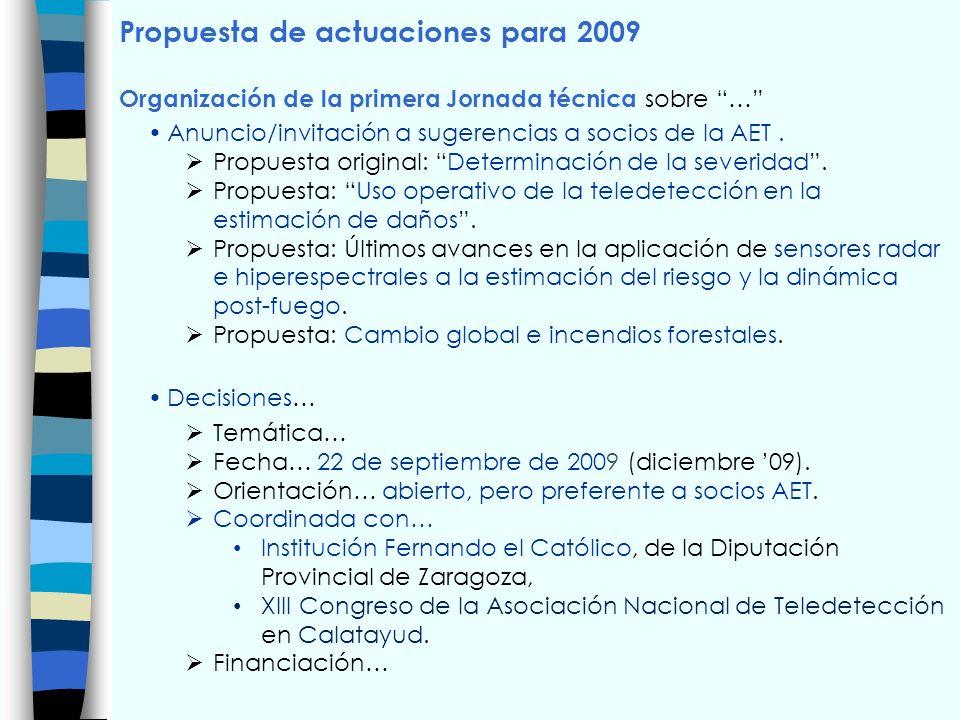 Propuesta de actuaciones para 2009