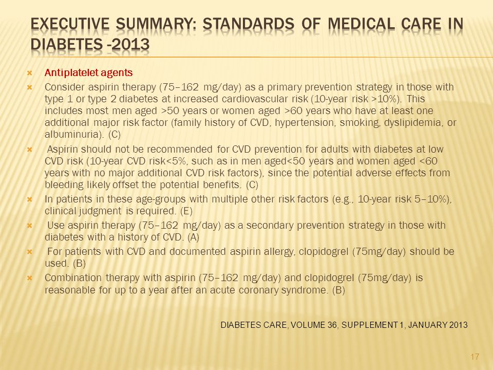 Executive Summary: Standards of Medical Care in Diabetes -2013