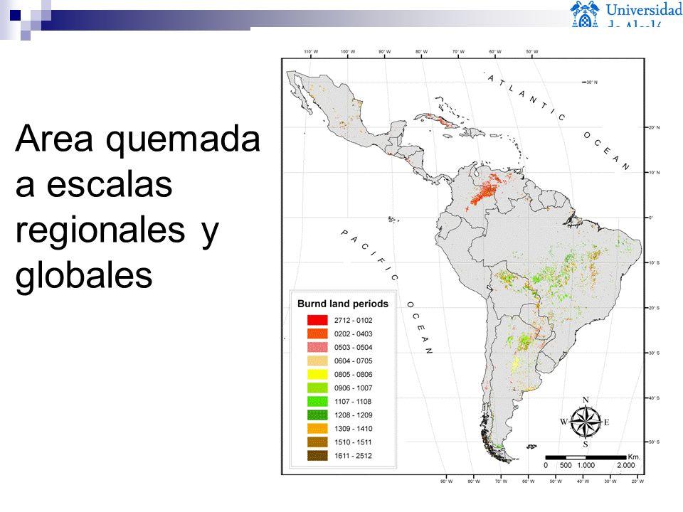 Area quemada a escalas regionales y globales