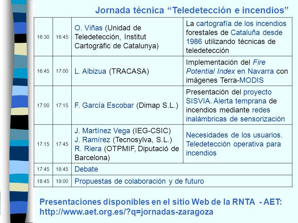Jornada técnica Teledetección e incendios