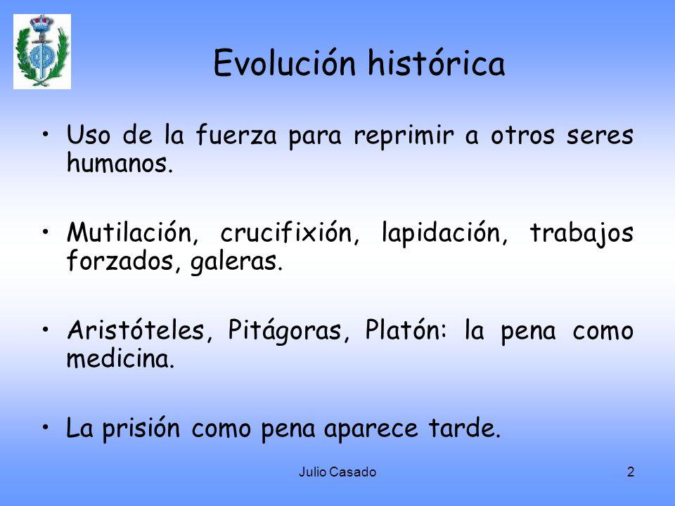 Evolución histórica Uso de la fuerza para reprimir a otros seres humanos. Mutilación, crucifixión, lapidación, trabajos forzados, galeras.