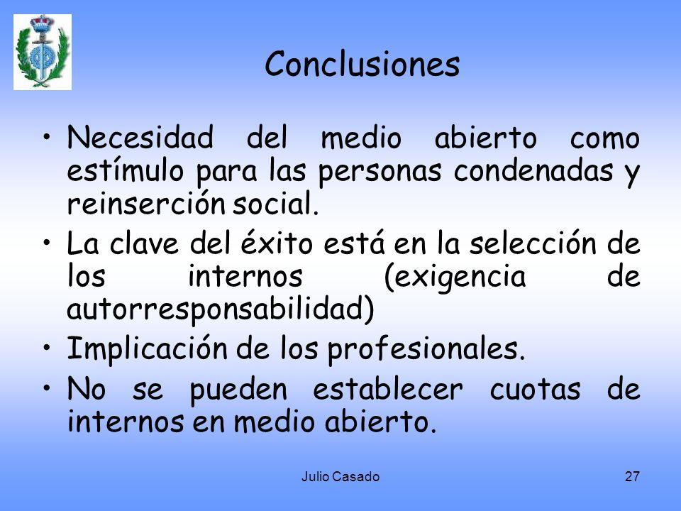 Conclusiones Necesidad del medio abierto como estímulo para las personas condenadas y reinserción social.