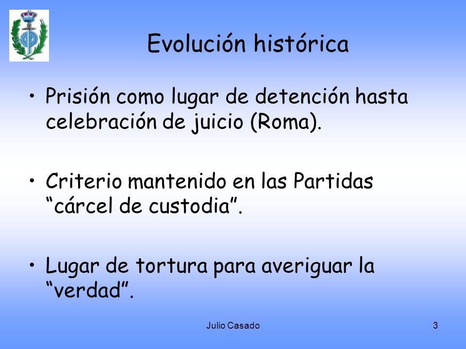 Evolución histórica Prisión como lugar de detención hasta celebración de juicio (Roma). Criterio mantenido en las Partidas cárcel de custodia .