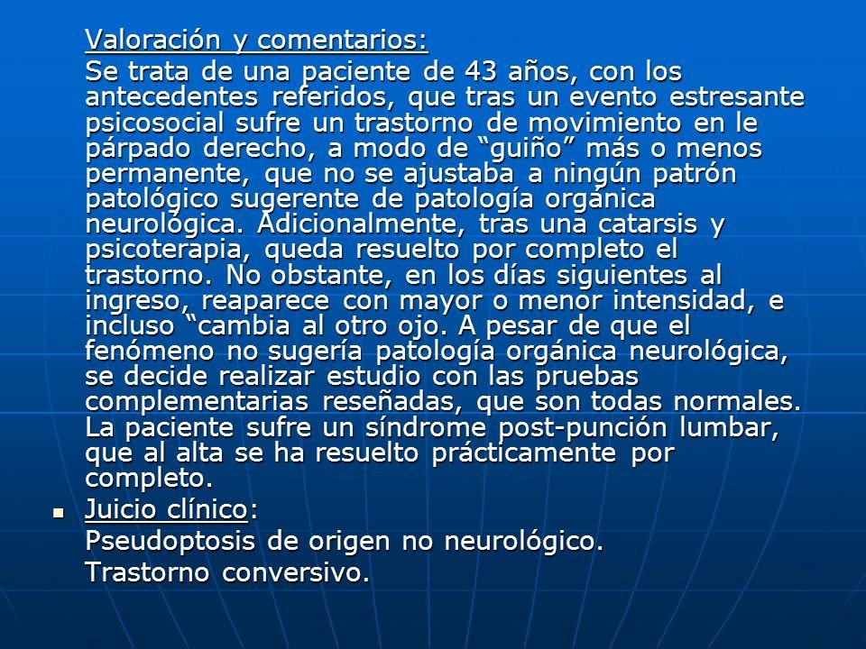 Pseudoptosis de origen no neurológico. Trastorno conversivo.