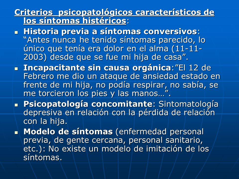 Criterios psicopatológicos característicos de los síntomas histéricos: