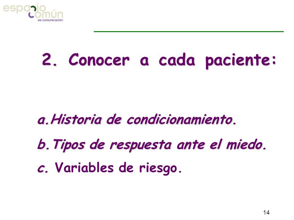 2. Conocer a cada paciente: