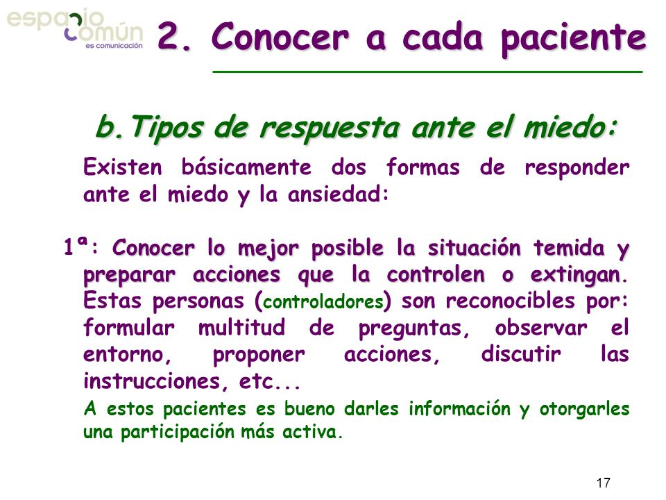 2. Conocer a cada paciente