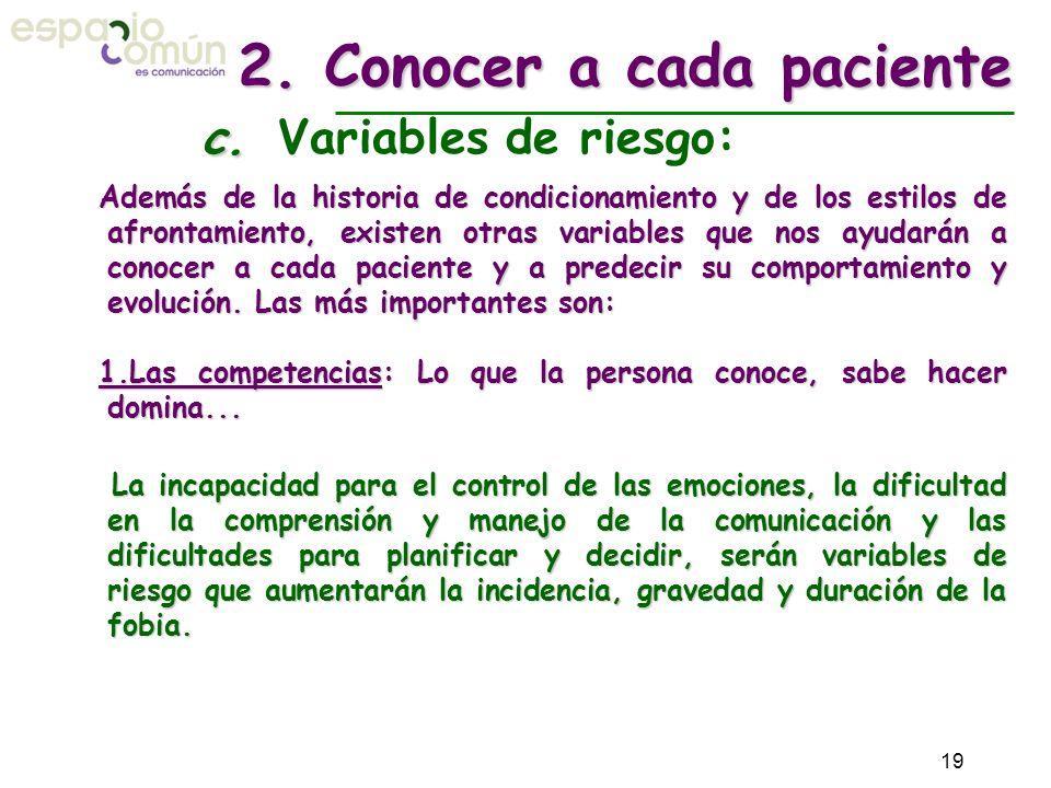 2. Conocer a cada paciente c. Variables de riesgo: