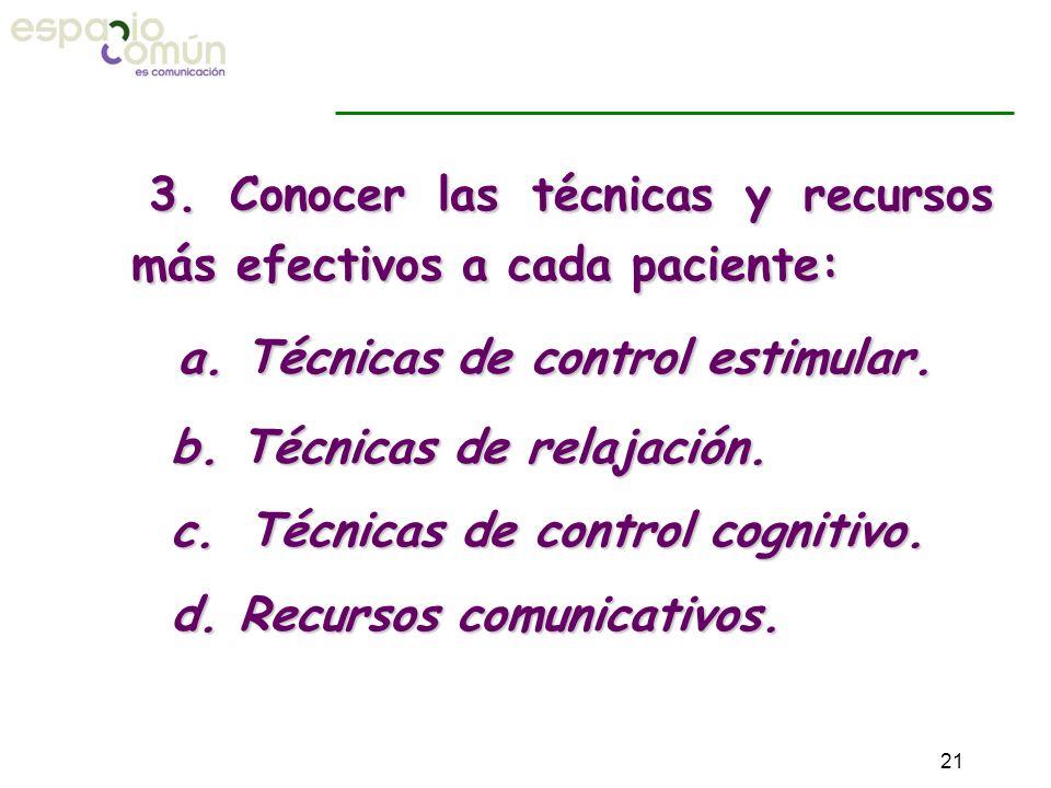3. Conocer las técnicas y recursos más efectivos a cada paciente:
