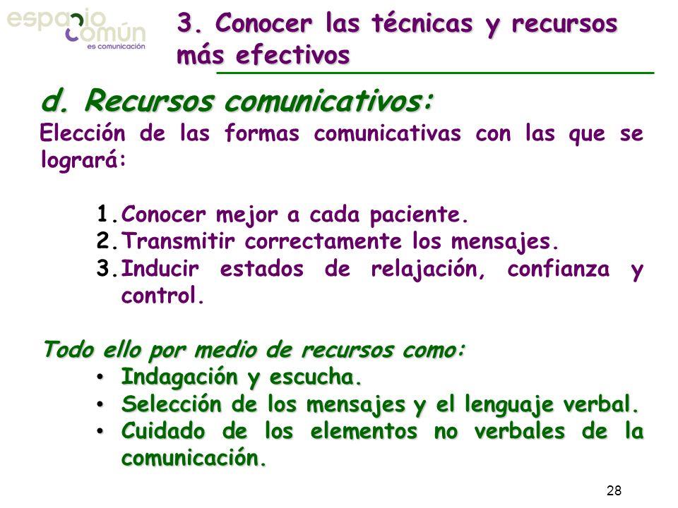 d. Recursos comunicativos: