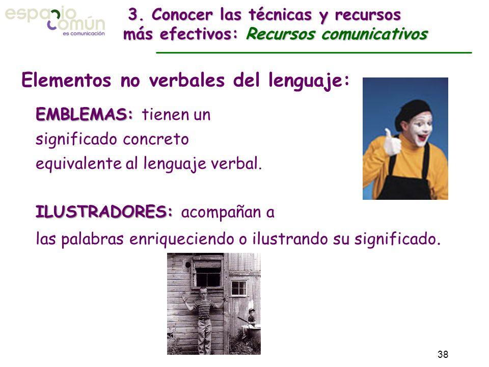 Elementos no verbales del lenguaje: