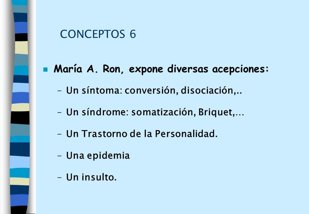 CONCEPTOS 6 María A. Ron, expone diversas acepciones:
