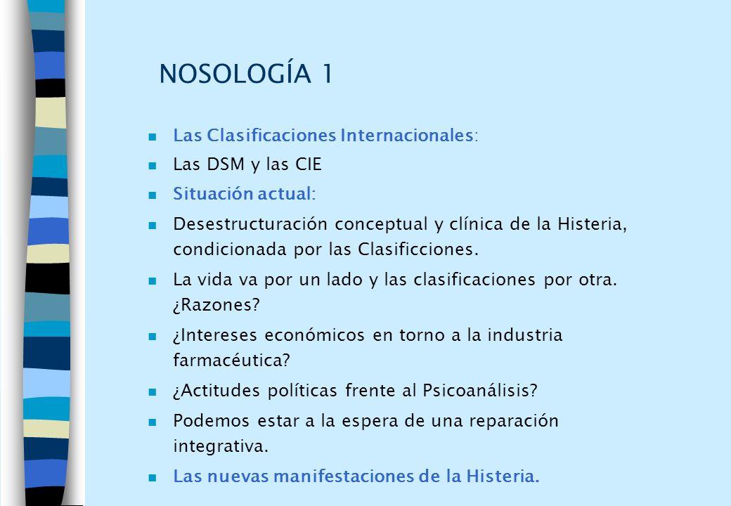 NOSOLOGÍA 1 Las Clasificaciones Internacionales: Las DSM y las CIE