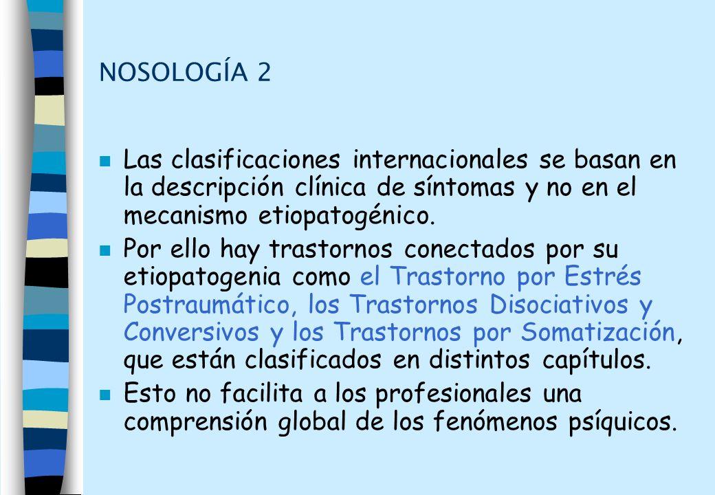 NOSOLOGÍA 2 Las clasificaciones internacionales se basan en la descripción clínica de síntomas y no en el mecanismo etiopatogénico.