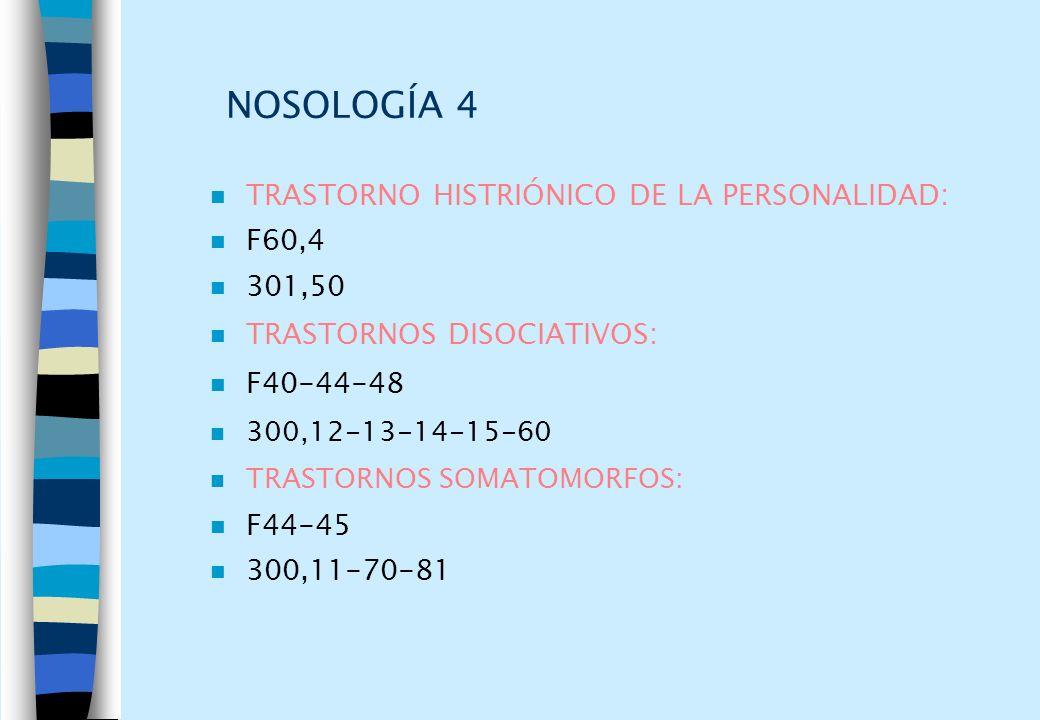 NOSOLOGÍA 4 TRASTORNO HISTRIÓNICO DE LA PERSONALIDAD: F60,4 301,50