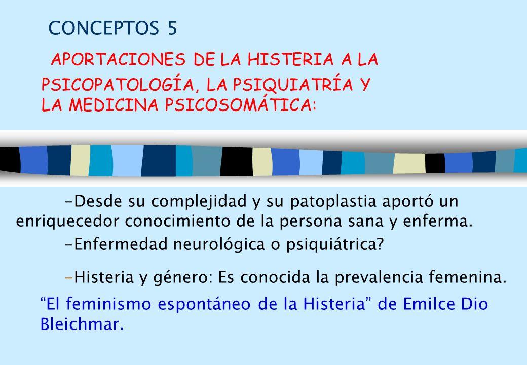 CONCEPTOS 5 APORTACIONES DE LA HISTERIA A LA PSICOPATOLOGÍA, LA PSIQUIATRÍA Y LA MEDICINA PSICOSOMÁTICA: