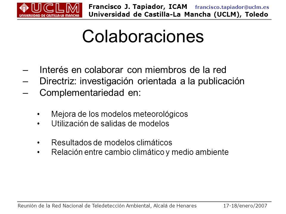 Colaboraciones Interés en colaborar con miembros de la red