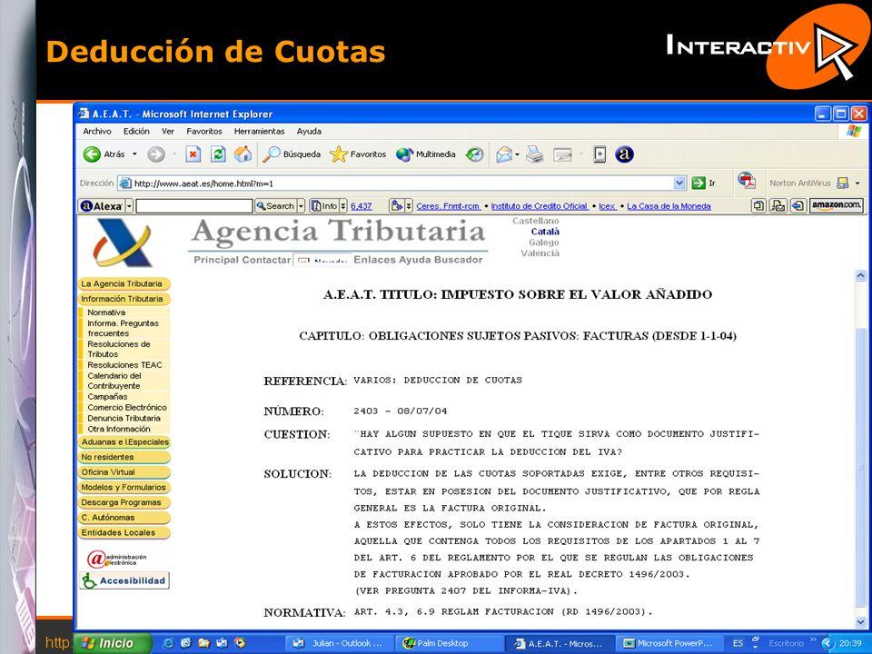 Deducción de Cuotas http://www.interactiva.com.es © 2004 Interactiva
