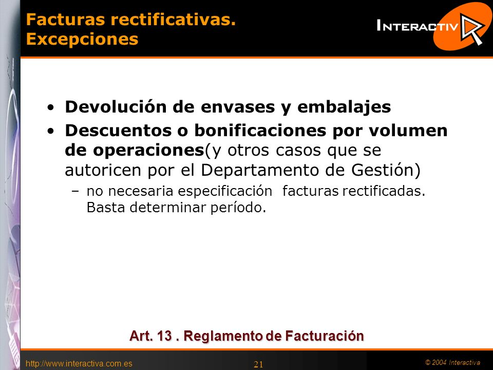 Facturas rectificativas. Excepciones