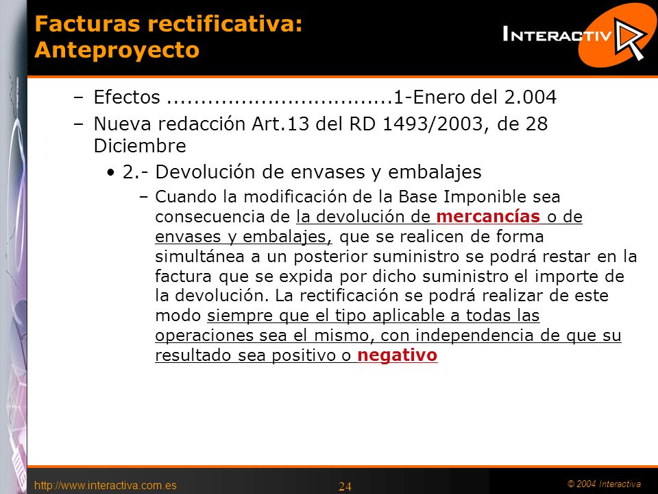 Facturas rectificativa: Anteproyecto