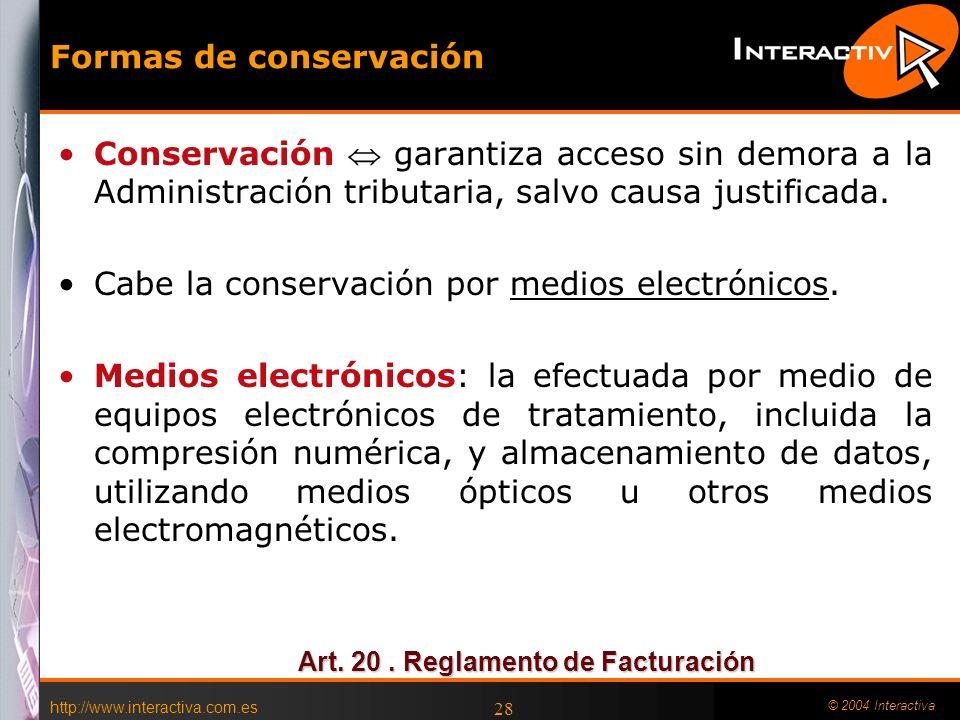 Formas de conservación