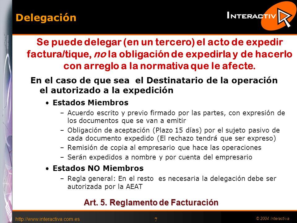 Art. 5. Reglamento de Facturación