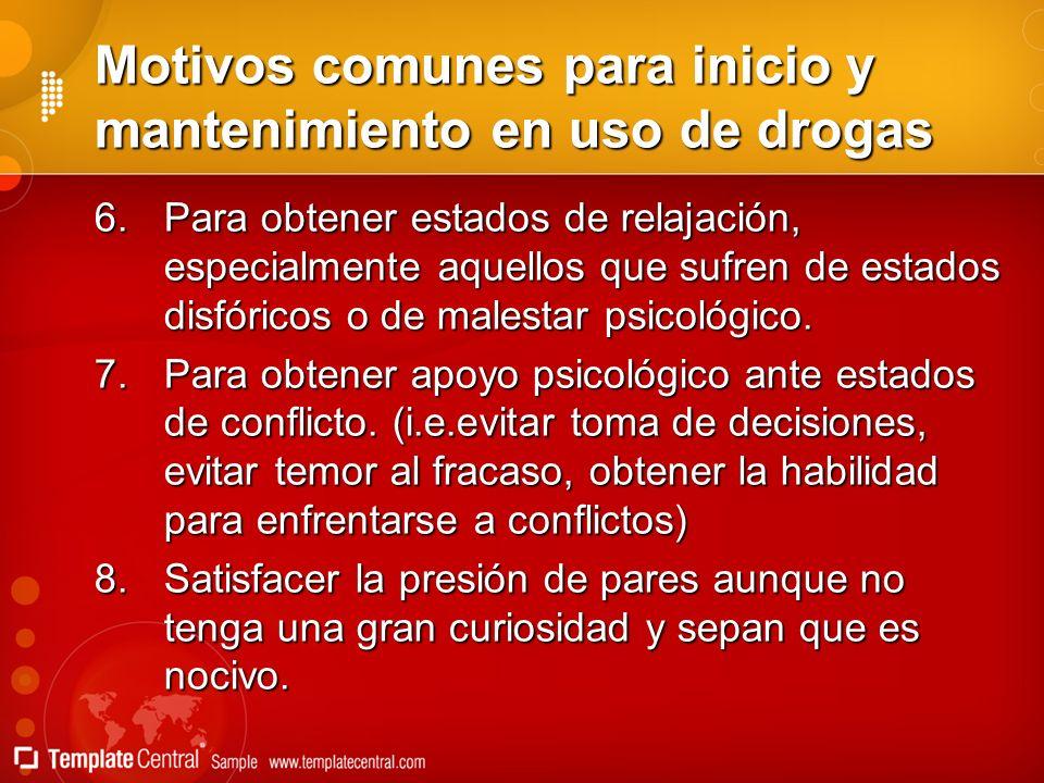 Motivos comunes para inicio y mantenimiento en uso de drogas