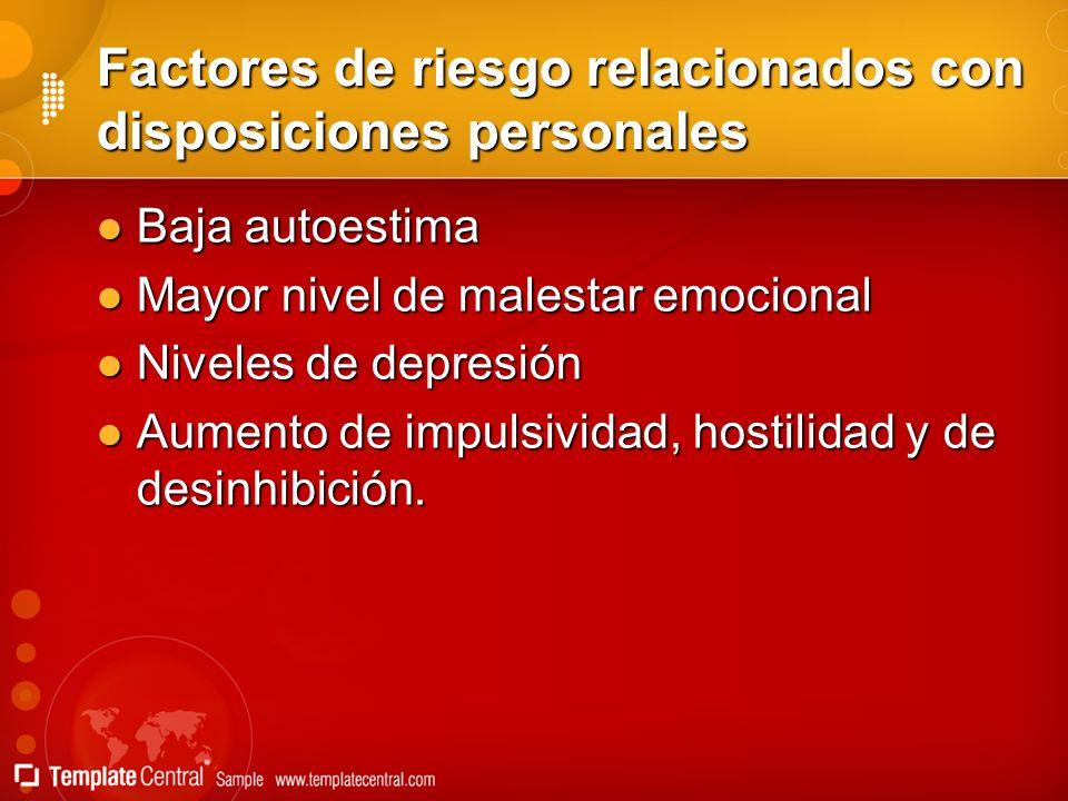 Factores de riesgo relacionados con disposiciones personales