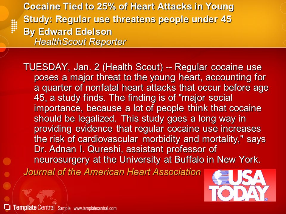 Cocaine Tied to 25% of Heart Attacks in Young