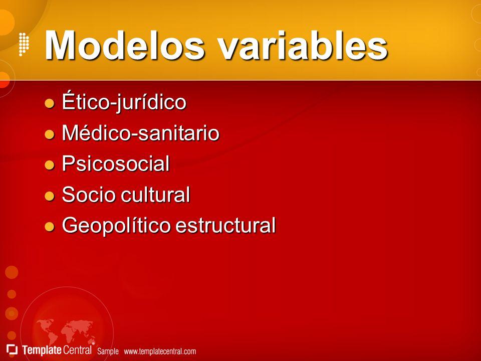 Modelos variables Ético-jurídico Médico-sanitario Psicosocial