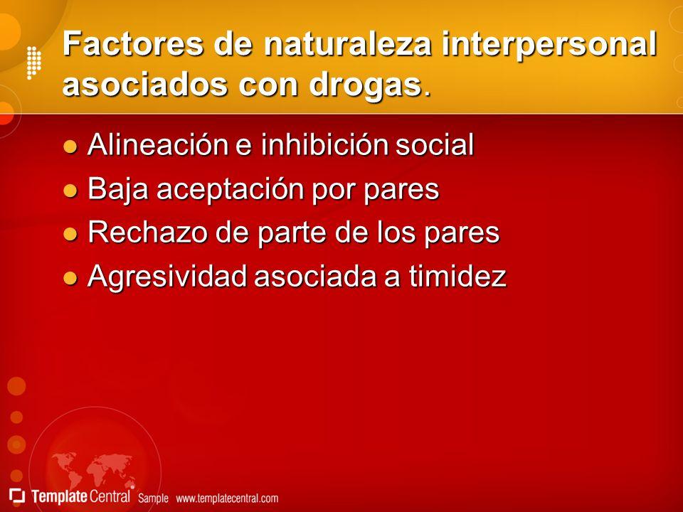 Factores de naturaleza interpersonal asociados con drogas.