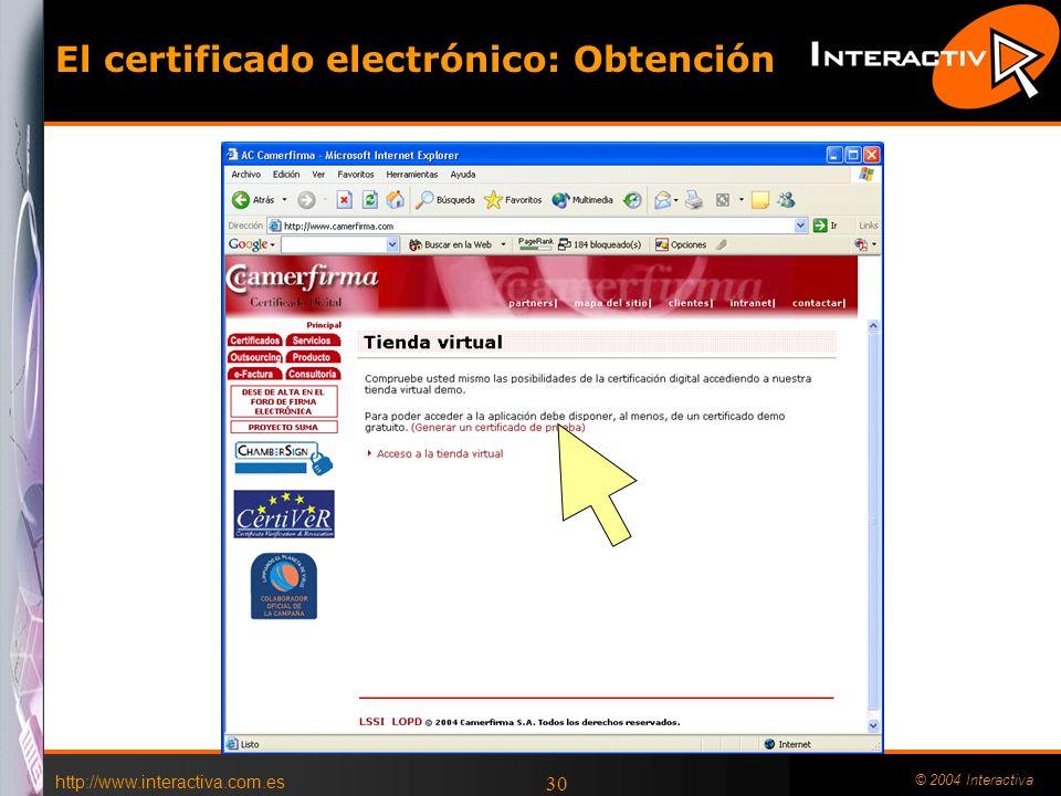 El certificado electrónico: Obtención