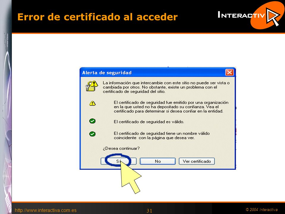 Error de certificado al acceder