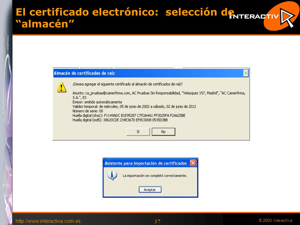El certificado electrónico: selección de almacén
