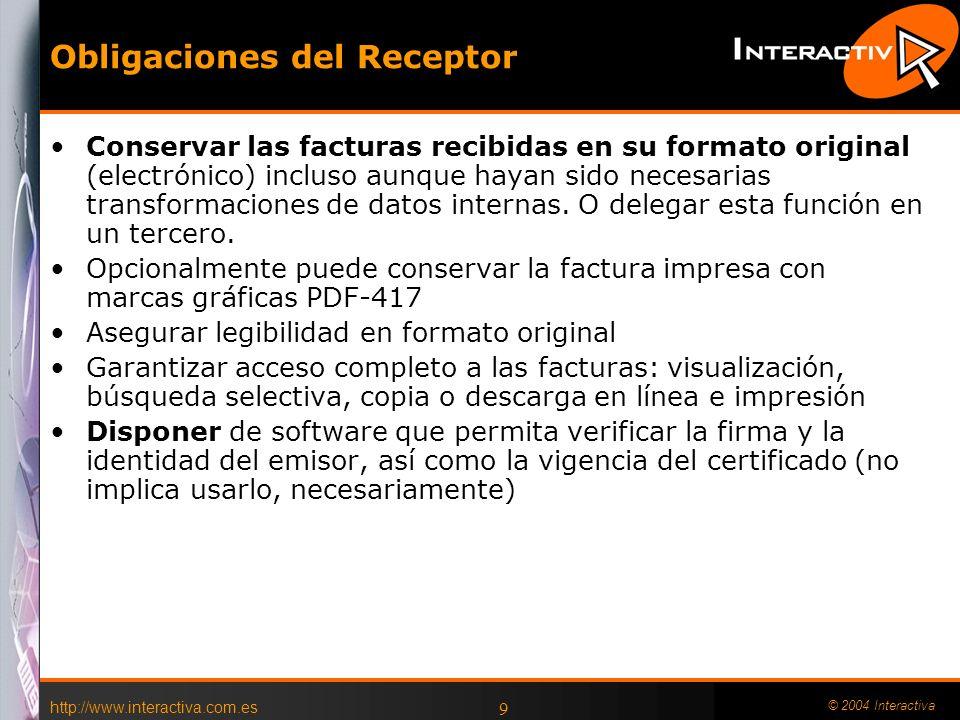 Obligaciones del Receptor