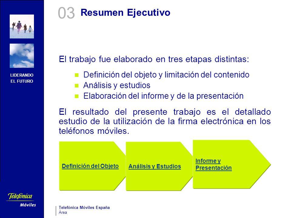 03 Resumen Ejecutivo. El trabajo fue elaborado en tres etapas distintas: Definición del objeto y limitación del contenido.