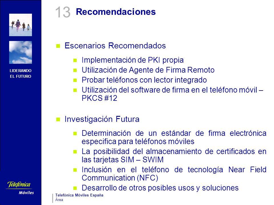 13 Recomendaciones Escenarios Recomendados Investigación Futura